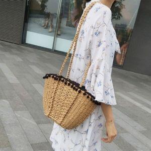 Rattan Beach Shoulder Bag Purse Pompom Woven